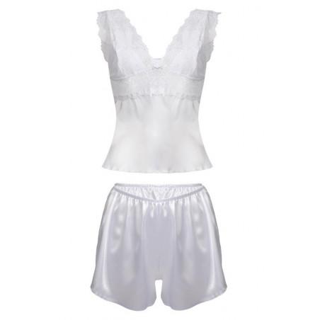 pyjama court en satin blanc Clarisse - Dkaren