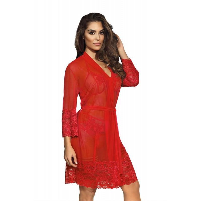 Le peignoir rouge transparent V-8860 - Axami - peignoir sexy femme