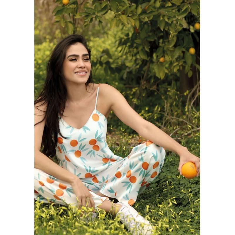 ensemble de pyjama avec son pantalon en satin Halka - Dkaren