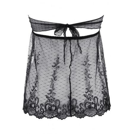 nuisette noire transparente et son string - V-9639 - Axami