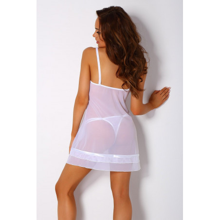 chemise de nuit / nuisette CAMPI blanc de chez Pari Pari Lingerie