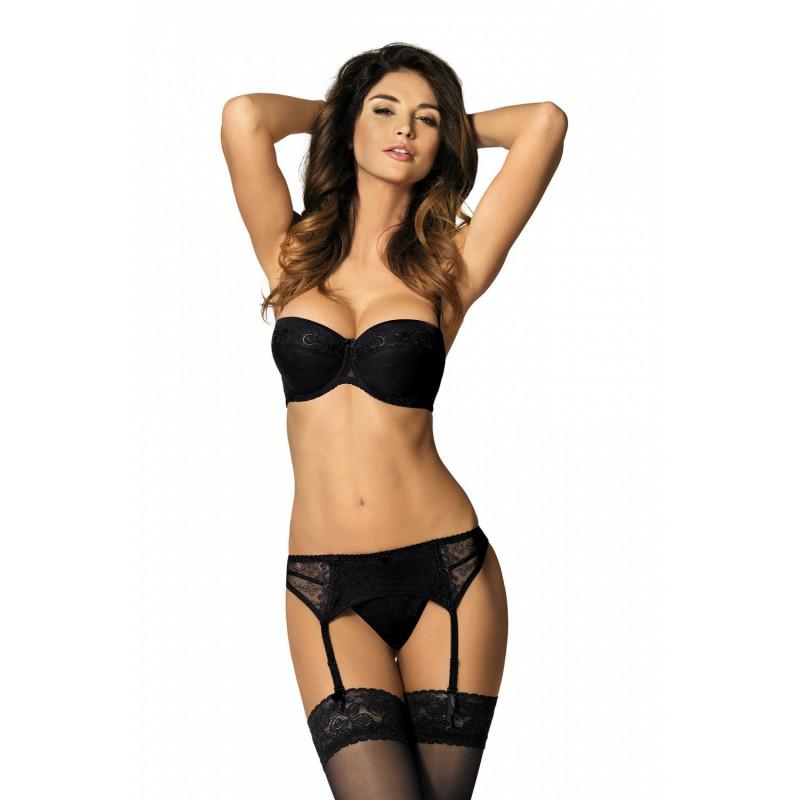 Porte Jarretelle noir 4 attaches Yvette PPN de chez Gorteks lingerie