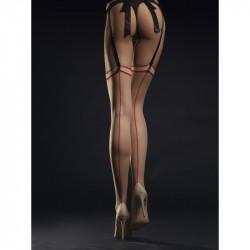 les bas vintage pour porte jarretelle Madame 20 DEN - Nude & rouge par fiore