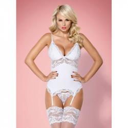 La guepière blanche 810-COR-2 par Obsessive lingerie