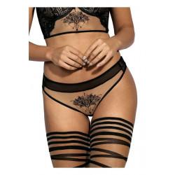 Le string brésilien V-9035 noir par Axami Lingerie